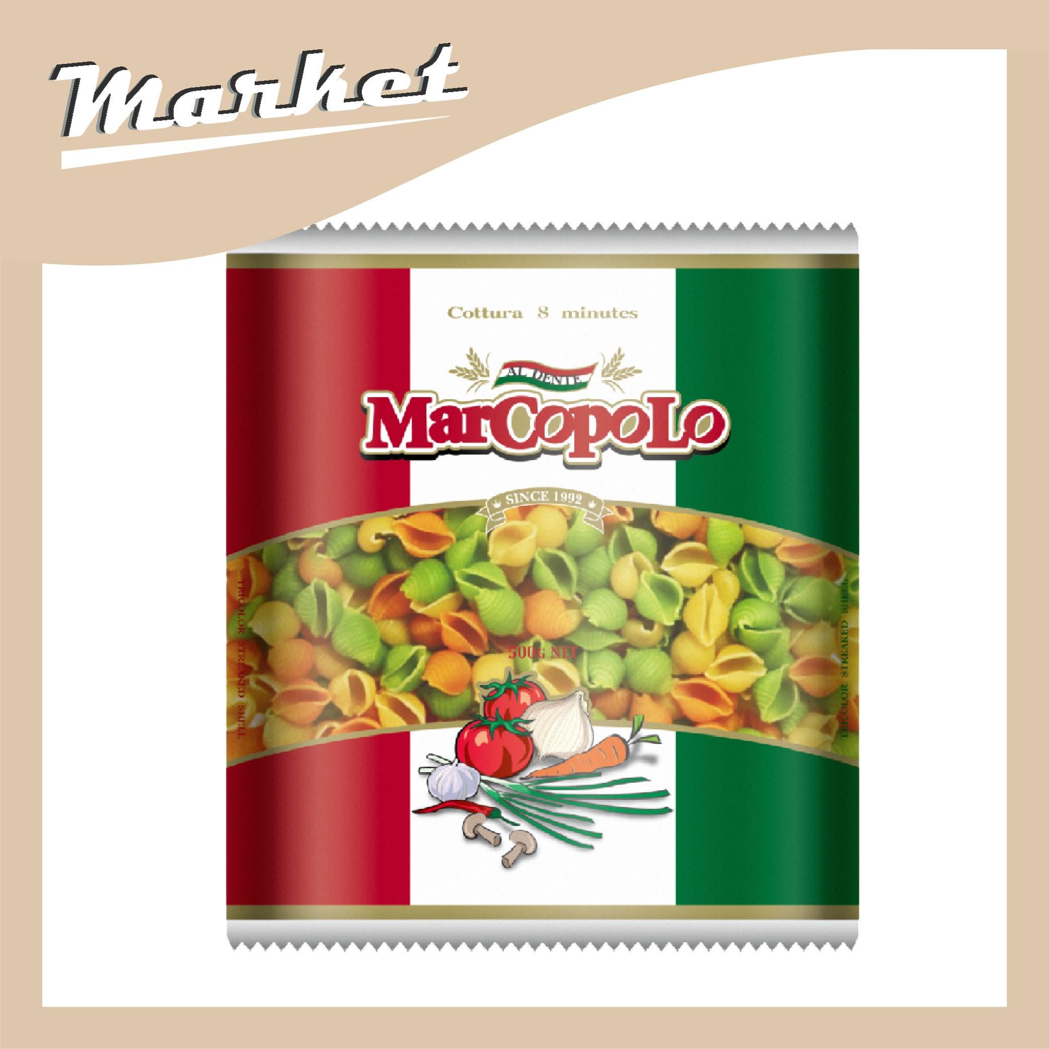 【馬可波羅】三色稜紋貝殼麵麵(500g)